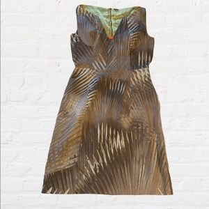 Ellie Tahari Tan Palm Leaf Sheath Dress | Size 6